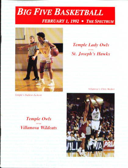 Temple-Villanova Big Five Basketball program 2/1 1992 Lady Owls vs Hawks