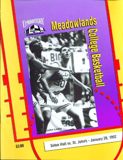 Image for Seton Hall-St. John's basketball program 1/20 1992