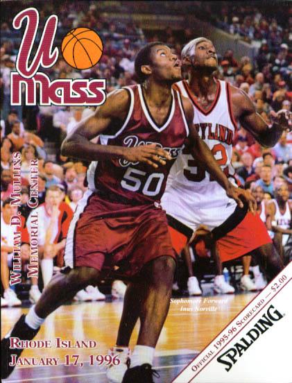 Image for UMass-Rhode Island basketball scorecard 1/17 1996