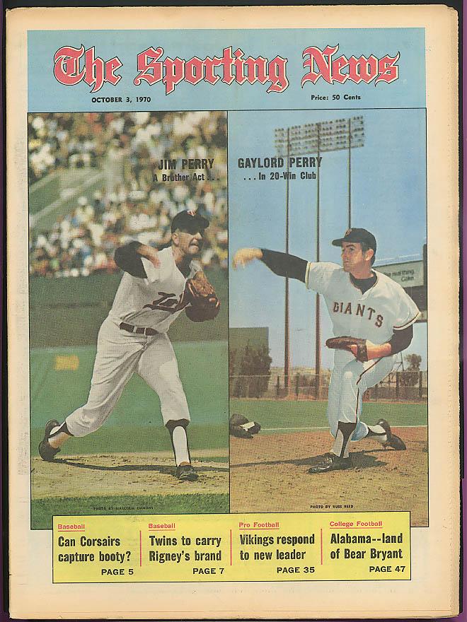 THE SPORTING NEWS Jim & Gaylord Perry Bear Bryant Rigney Twins Vikings 10/3 1970
