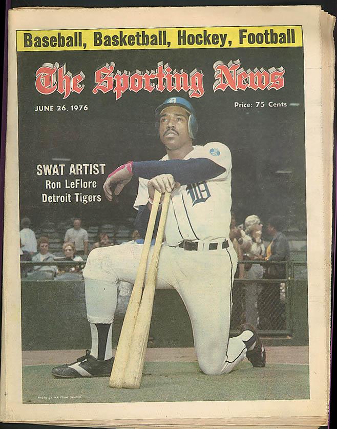 THE SPORTING NEWS Ron LeFlore Deroit Tigers Joe Morgan Thurman Munson 6/26 1976