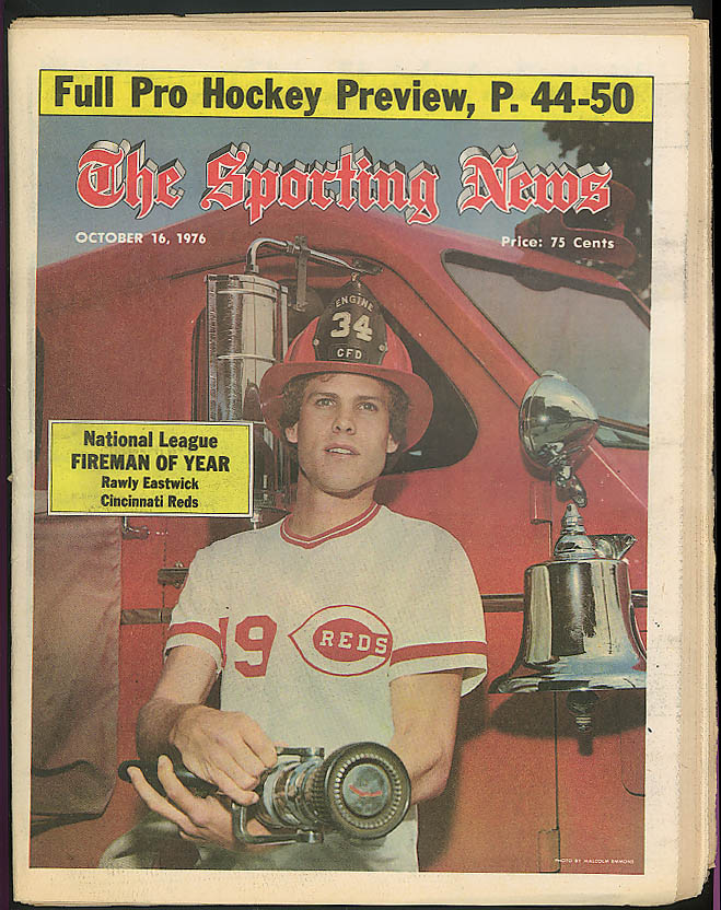 THE SPORTING NEWS Rawly Eastwick Cincinnati Reds Tom Lasorda 10/16 1976