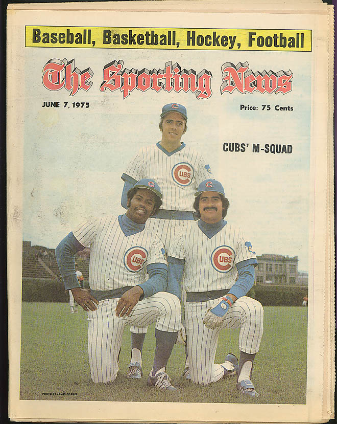 THE SPORTING NEWS Jerry Morales Bill Badlock Rick Monday Chicago Cubs 6/7 1975