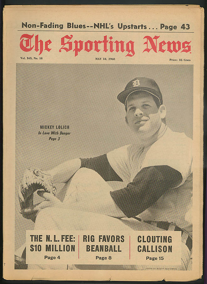 THE SPORTING NEWS Mickey Lolich Jim Davenport Tommy Davis Ray Washburn 5/18 1968