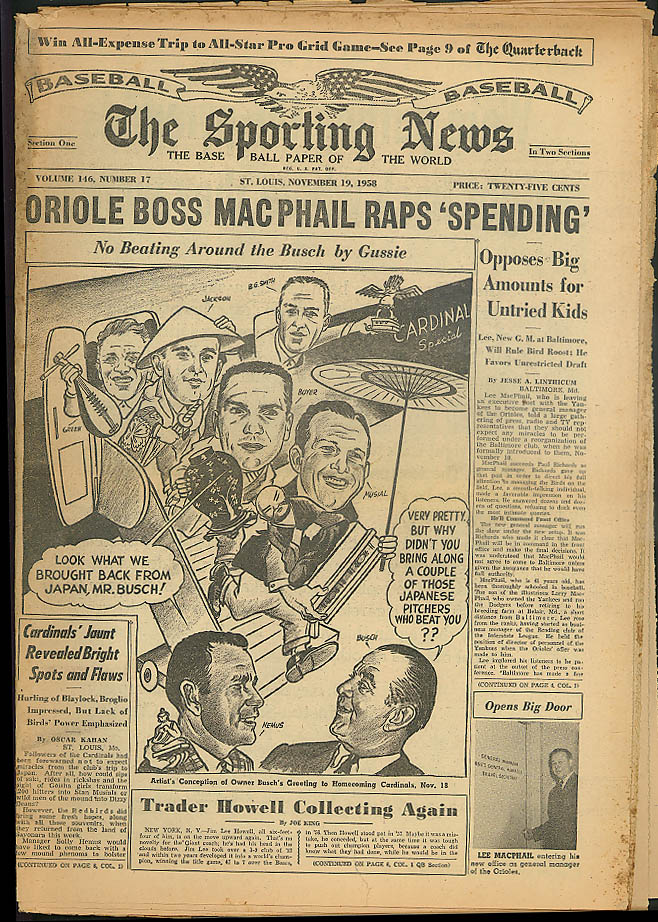 THE SPORTING NEWS Jim Lee Howell John Quinn Bob Turley Ed Roebuck 11/19 1958