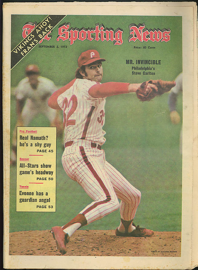 THE SPORTING NEWS Steve Carlton Philadelphia Phillies Joe Namath Evonne 9/2 1972