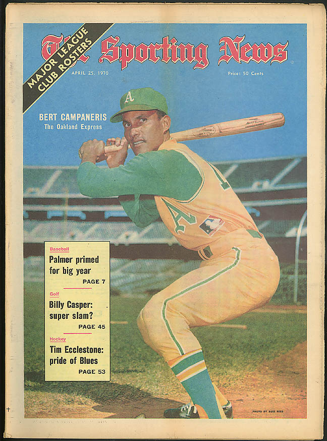 THE SPORTING NEWS Bert Campaneris Oakland Arnold Palmer Billy Casper 4/25 1970