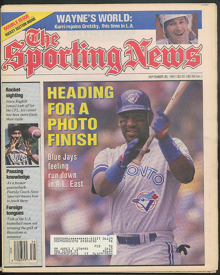 SPORTING NEWS Blue Jays Wayne Gretzky Raghib Ismail 9/30 1991