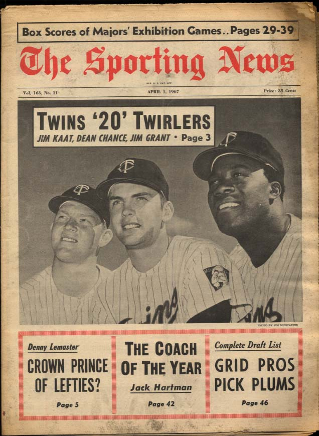 SPORTING NEWS 4/1 1967 Kaat Chance & Grant Lemaster Jack Hartman Blefary