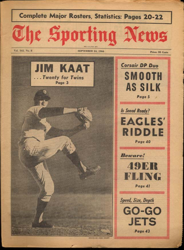 SPORTING NEWS 9/10 1966 Jim Kaat Norm Snead NY Jets Frank Robinson