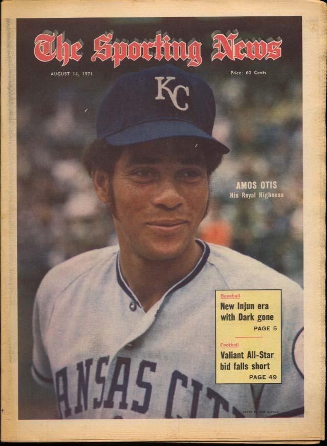 SPORTING NEWS 8/14 1971 Amos Otis Dick McAuliffe Dobson Kison Fergie Jenkins