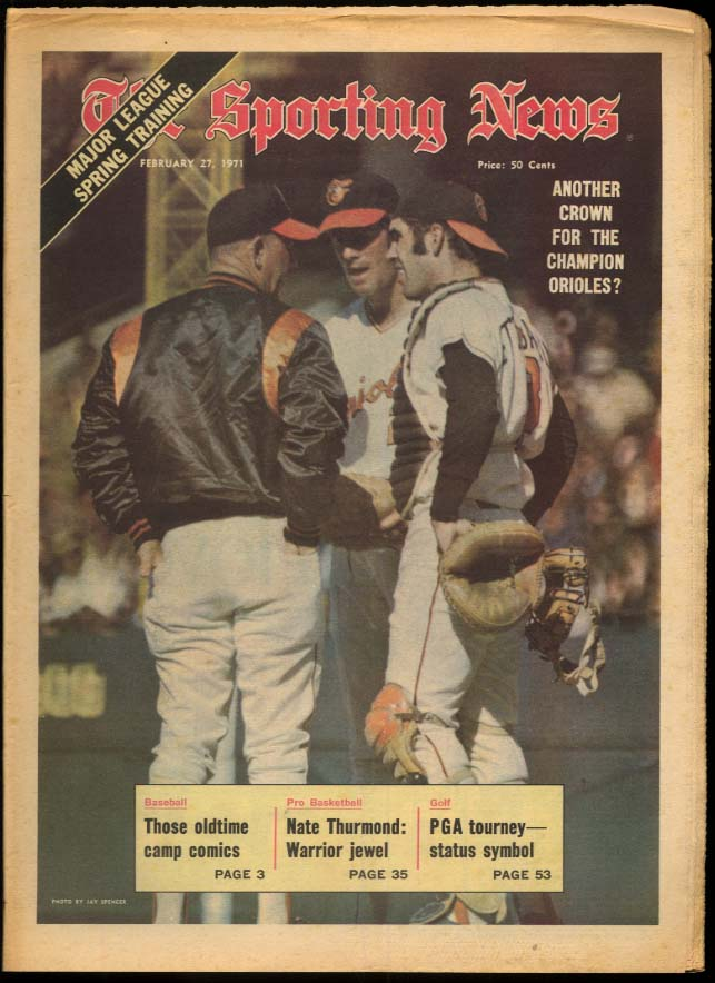 SPORTING NEWS 2/27 1971 Orioles again? Thurmond Brooks Robinson Sparky A