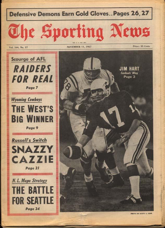 SPORTING NEWS 11/11 1967 Jim Hart; Raiders; Cazzie WY Cowboys Kaline Mays Yaz