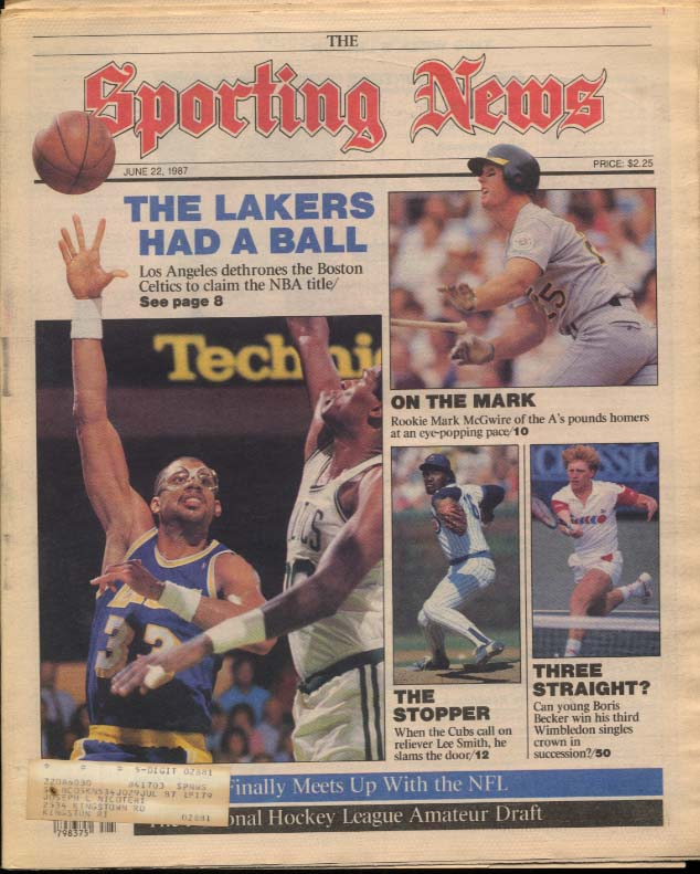 SPORTING NEWS 6/22 1987 Lakers over Celtics Mark McGwire Becker Lee Smith