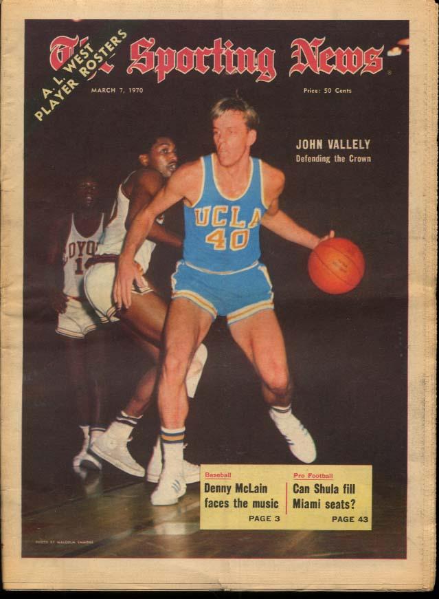 SPORTING NEWS 3/7 1970 Vallely Denny McLain Shula Kaline Sadecki Brock