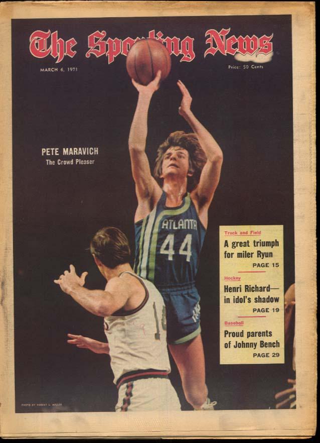 SPORTING NEWS 3/6 1971 Maravich Bench Henri Rochard Jim Ryun Fordham Rams