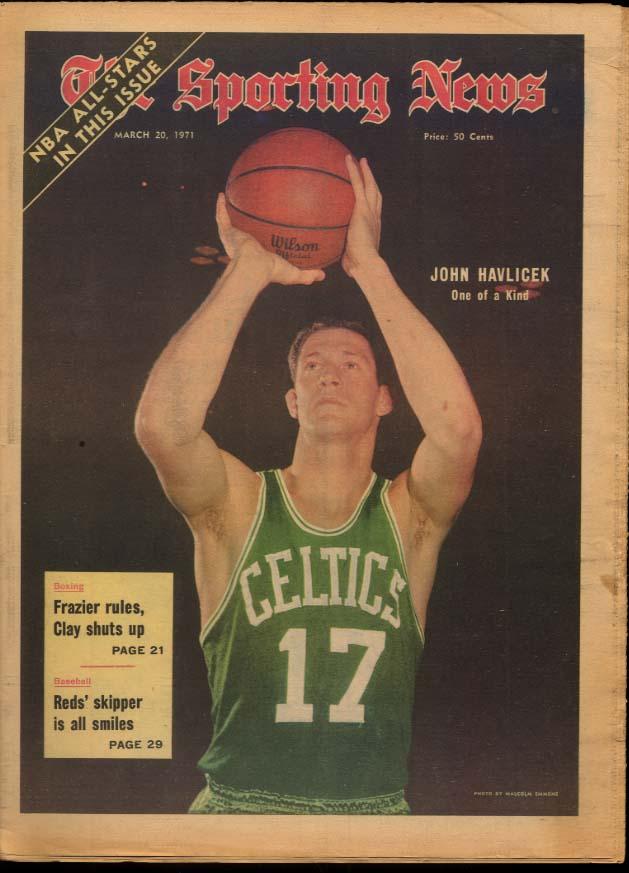 SPORTING NEWS 3/20 1971 Havlicek Frazier-Ali J C Snead Namath Jackie Robinson