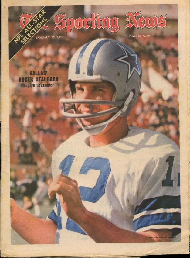 SPORTING NEWS 1/15 1972 Staubach Super Bowl prevue Shula Csonka Bowl Games