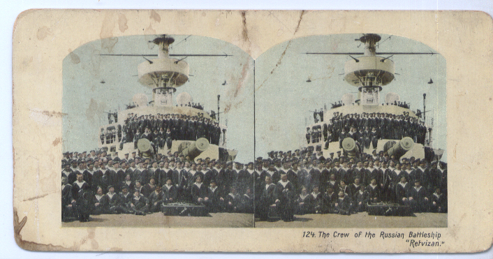 1904 Stereoview Russian Battleship Retzivan