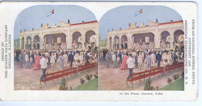 Image for 1906 Quaker Oats Stereoview Plaza Havana Cuba