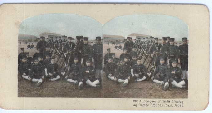 6th Div Japanese Army Tokio stereoview 1904