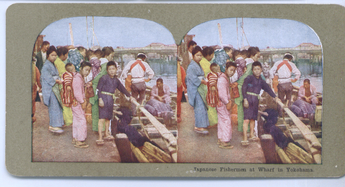 1900s Stereoview Japan Fishermen Yokahama