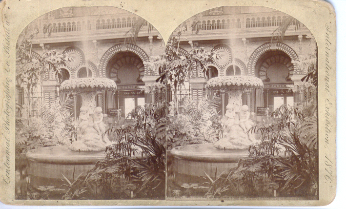 1876 Stereoview Centennial Exhibition fountain