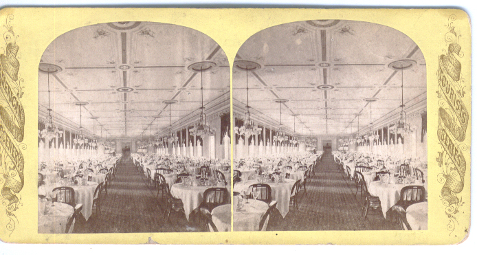 1870s Stereoview Grand Union Hotel Saratoga NY dining room