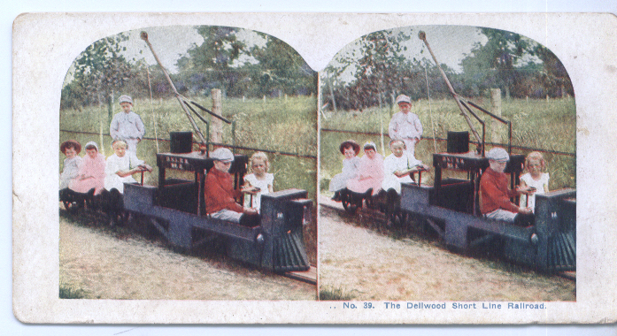 1900? Stereoview Dellwood Short Line RR Kids