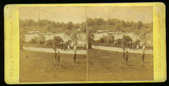 Central Park NY pond w/ people stereoview 1880s