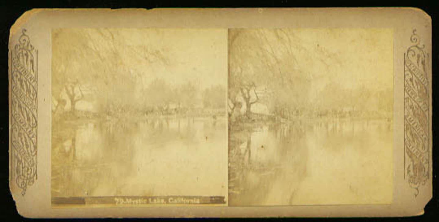 Mystic Lake California stereoview 1870s?