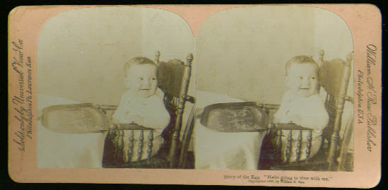 Baby in Highchair stereoview 1899