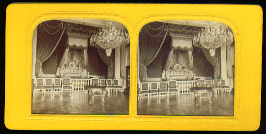 Marie Louise bed backlit color stereoview 1870s