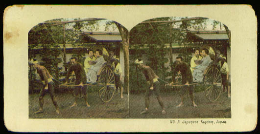 Japanese Tandem Rickshaw color stereoview 1905