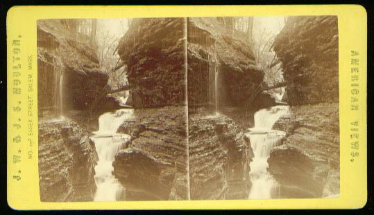 Rainbow Falls Watkins Glen stereoview 1870s