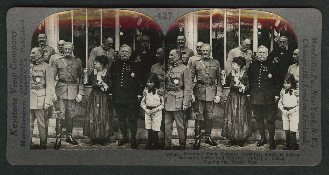 Marshall Foch General Pershing Marshall Madame Joffre World War stereoview 1918