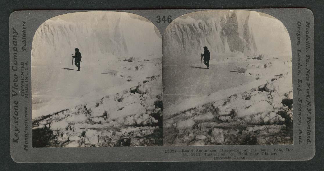Roald Amundsen inspecting ice field Antarctic Ocean stereoview