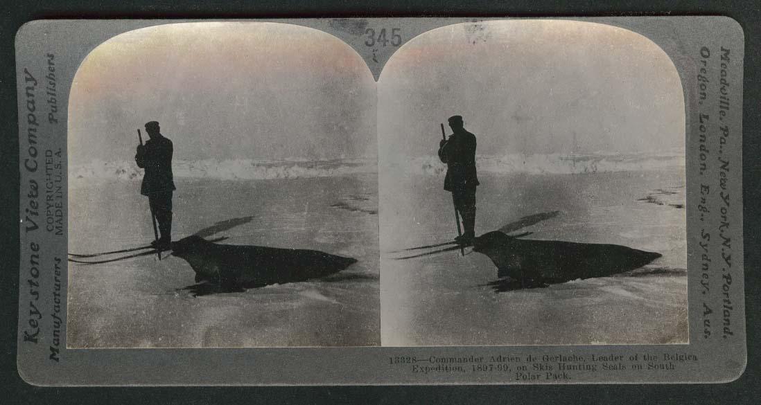 Commander Adrien de Gerlache Belgian Antarctic Expedition Seal Hunt stereoview