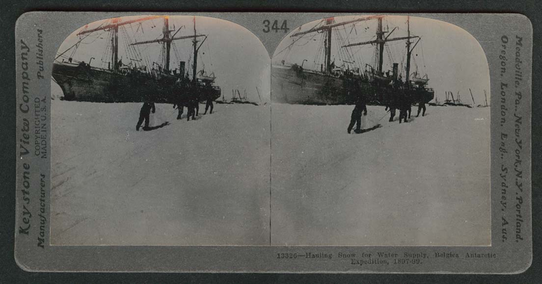 Hauling snow for water supply Belgica Antarctic expedition stereoview