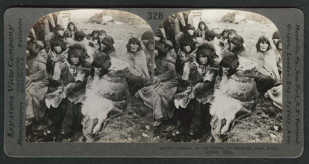 South American Indians near Punta Arenas Chile stereoview