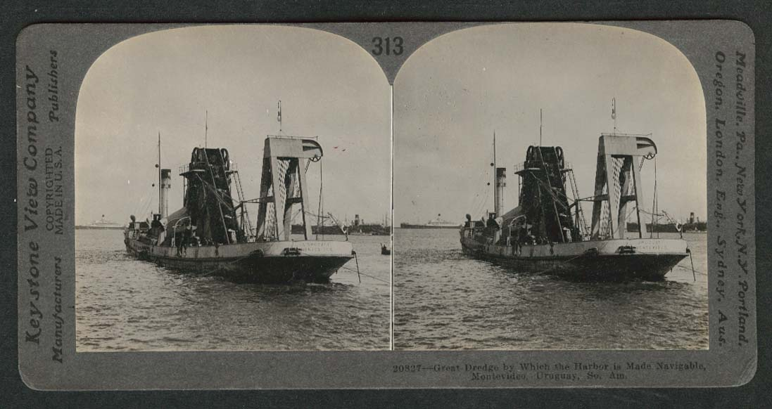 Dredging in the Harbor of Montevideo Uruguay South America stereoview