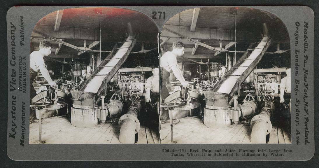 Beet Pulp & Juice flowing from tank to tank Montreal Canada stereoview