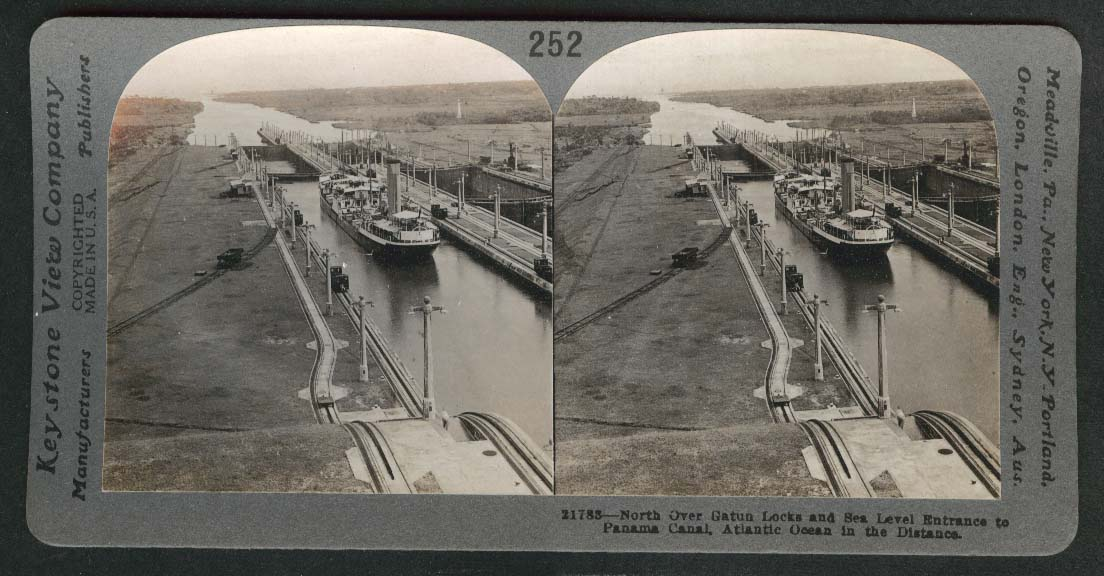North over Gatun Locks Sea Level Entrance to Panama Canal Atlantic stereoview