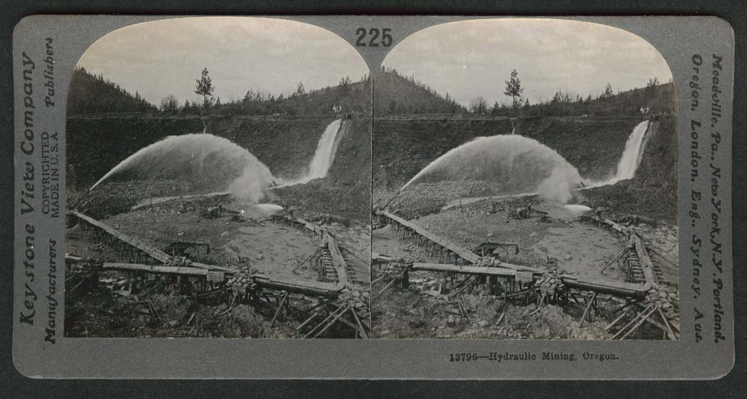 Hydraulic gold mining Oregon stereoview