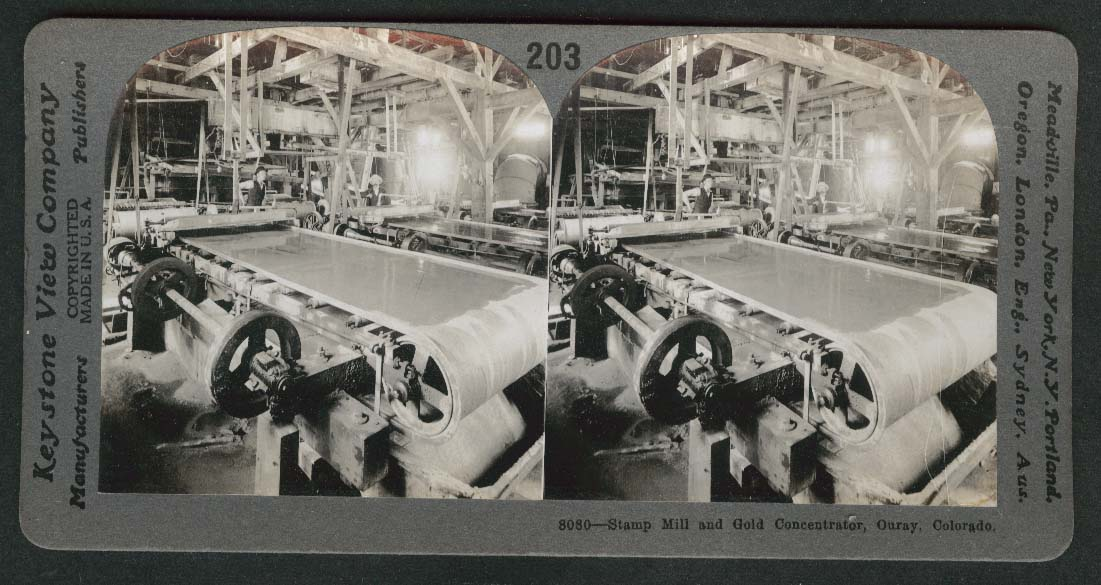 Stamp Mill & Gold Concentrator Ouray Colorado stereoview