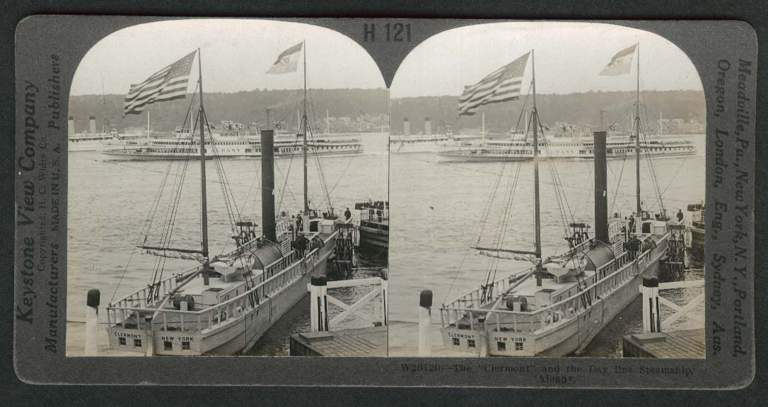 Clermont & Day line Steamship Albany stereoview