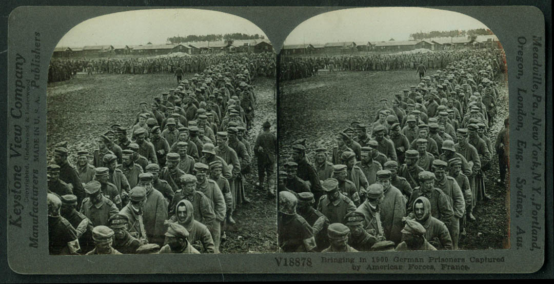 1900 German Prisoners Captured by US Forces France stereoview World War I