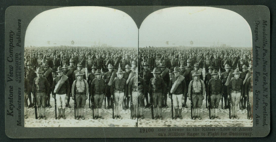 America Answers the Kaiser 3000 Doughboys Ready to Fight stereoview World War I