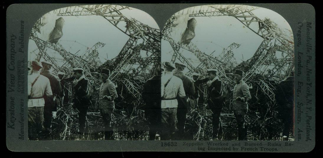 French Troops inspect Crashed & Burned Zeppelin stereoview World War I