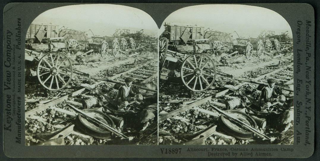 German Ammo Camp destroyed by Allied Airmen Alincourt FR stereoview World War I